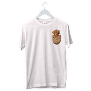 Cute Doggy on Pocket Colorful Designed T-Shirt | Buy Custom Designed Pocket Colorful T-Shirt